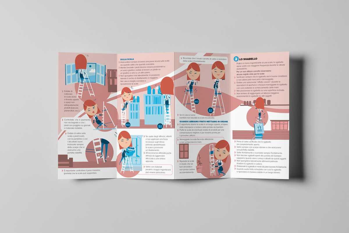 immagine che mostra un folder a quattro ante realizzato per la campagna di sensibilizzazione sul pericolo di scale e sgabelli per le colf