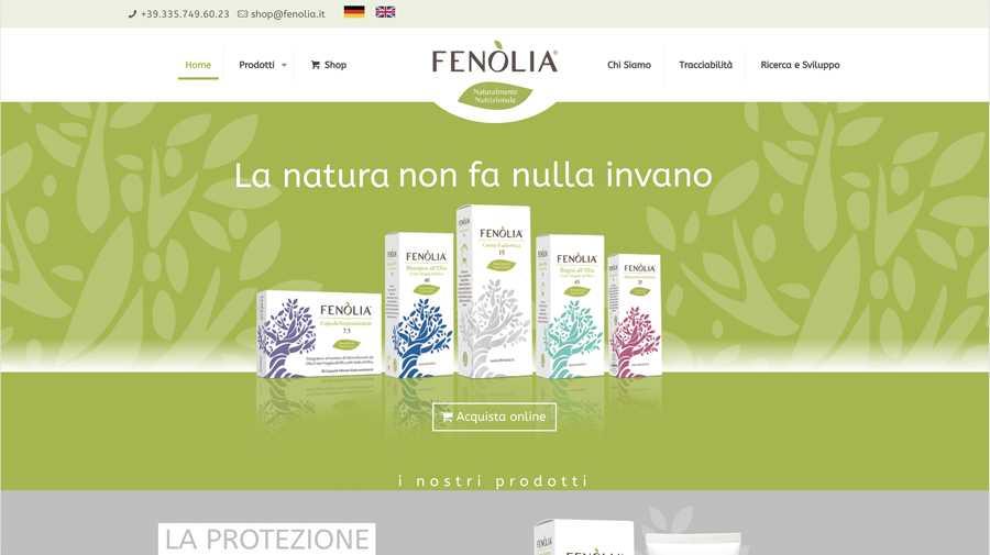 immagine descrittiva del sito internet web realizzato da media tools roma per fenolia