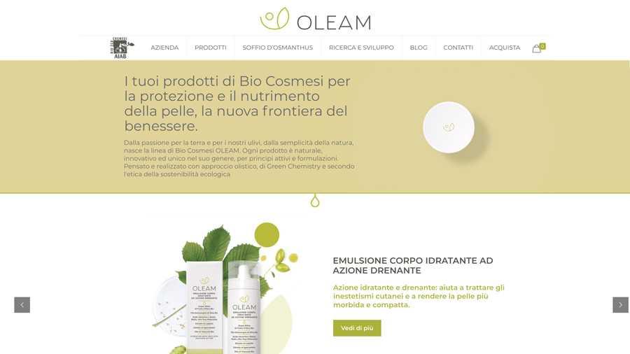 immagine descrittiva del sito internet web realizzato da media tools roma per oleam