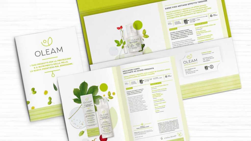 immagine principale del progetto Oleam che mostra la brochure e la cartellina per l'agente per ordinare i prodotti di bellezza